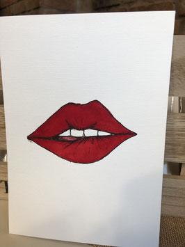 Inkttekening lip bijten 1 / ink drawing biting your lip 1