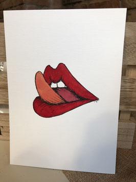 Inkttekening lippen likken 3 / ink drawing licking lips 3