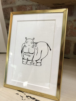 Inkttekening nijlpaard zw/w met kader / Ink drawing hippo b/w with frame