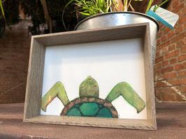 Inkttekening schildpad kleur (klein) met kader / Ink drawing turtle color (small) with frame