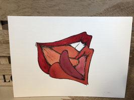 Inkttekening kussende lippen 3 / ink drawing kissing lips 3