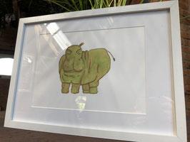 Inkttekening nijlpaard kleur (groot) met kader / Ink drawing hippo (large) with frame