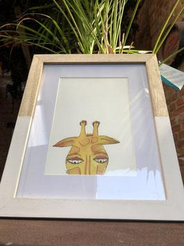 Inkttekening giraf kleur (klein) met kader / Ink drawing giraffe color (small) with frame