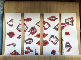 Inktbladwijzers lippen / Ink bookmarks lips