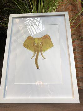 Inkttekening olifant kleur (groot) met kader / Ink drawing elephant color (large) with frame