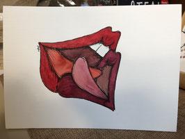 Inkttekening kussende lippen 1 / ink drawing kissing lips 1