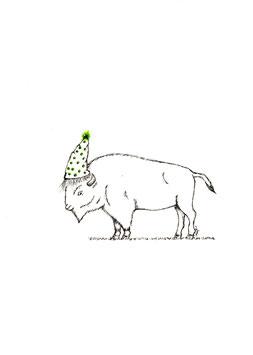 Bamboekaart Birthday Buffalo / Bamboo card Birthday Buffalo