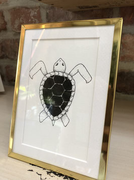 Inkttekening schildpad zw/w met kader / Ink drawing turtle b/w with frame