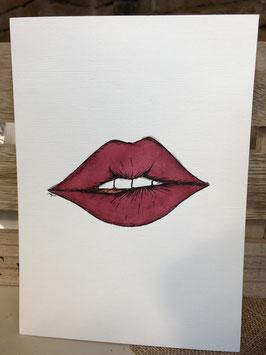 Inkttekening lip bijten 3 / Ink drawing biting your lip 3