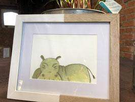 Inkttekening nijlpaard kleur (klein) met kader / Ink drawing hippo color (smaal) with frame