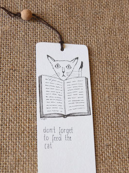 Bamboo bookmark Don't forget to feed the cat