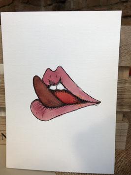 Inkttekening lippen likken 2 / ink drawing licking lips 2