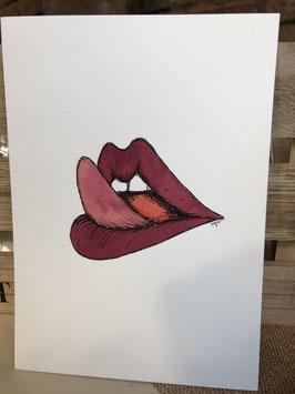 Inkttekening lippen likken 1 / Ink drawing licking lips 1