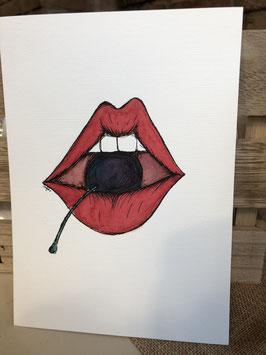 Inkttekening cherry lips 3 / ink drawing cherry lips 3