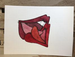 Inkttekening kussende lippen 2 / ink drawing kissing lips 2