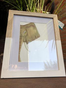 Inkttekening olifant kleur (klein) met kader) / Ink drawing elephant color (small) with frame