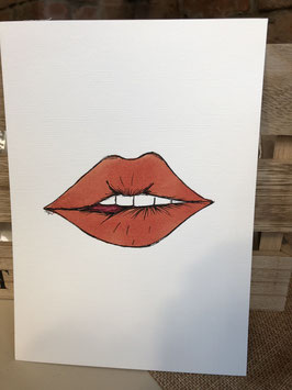 Inkttekening lip bijten 2 / Ink drawing biting your lip 2