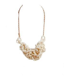 Chunky White Tangled Necklace