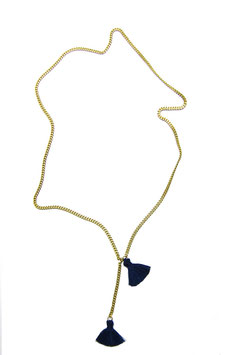 Navy Tassel Necklace