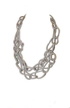 Silver Stud Tangled Necklace