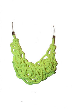 Neon Yellow Tangled Necklace