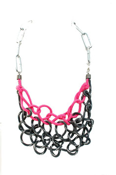 Pink/Grey Tangled Necklace