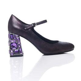 Luciano Barachini  Sandalen  Lamé-Look Strass  - Nuancen -Violett-Purpur  mit Blockabsatz Steine 6 cm