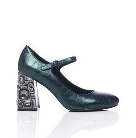 Luciano Barachini  Sandalen  Lamé-Look Strass  - Dunkel Grün  mit Blockabsatz Steine 6 cm
