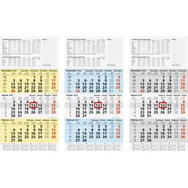Modell 702 30x58cm - Brunnen Dreimonats-Kalender 2020