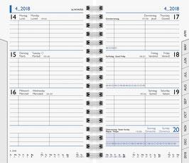 Modell 756 8,7x15,3cm Kalender-Einlage Wire-O - Brunnen Taschenkalender 2021