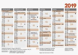 Tafelkalender A6 quer Modell 70160- Brunnen Tischkalender 2020 (25 Stück)
