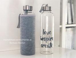 Wasserflasche love, inspire, create