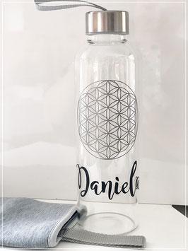 Wasserflasche Blume des Lebens inklusive Wunsch Name