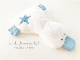 Süßes Kirschkernkissen Ente, Blau