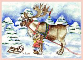 Weihnachtspostkarte Winterliche Grüße von Amy mit dem Rentier
