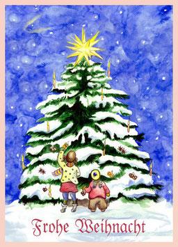 3 Stück Weihnachtspostkarte Lichterfest am Tannenbaume