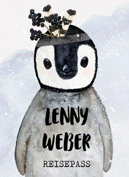 Reisepasshülle Kinder, Reisepass Hülle mit Name, Pinguin Junge