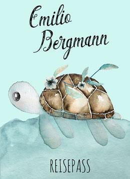 Reisepasshülle Kinder, Reisepass Hülle mit Name, Schildkröte Junge