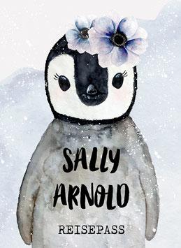 Reisepasshülle Kinder, Reisepass Hülle mit Name, Pinguin Mädchen