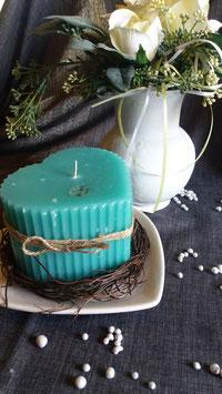 Herz- Kerze / seegrün