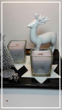 Kisterlichter, Kerze im Glas mit Holzdocht   (grau)