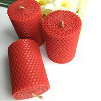 3 Bienenwachskerzen, rot, klein, rund,  8,5cm x 4,5cm