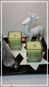 Knisterlichter, Kerze im Glas mit Holzdocht (hellgrün)