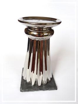 Hoher Kerzenständer silber glänzend