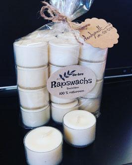 20 Teelichter aus Rapswachs, bis zu 7 Stunden Brenndauer