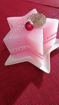SternKerze / rosa / dekoriert, mit Untersetzer