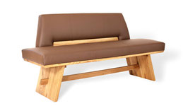 """""""Unique"""" Moderne Sitzbank mit rustikalen Elementen aus Massivholz und italienischem Leder"""