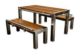 """DIMARO ® - Tischset """"A2S"""" 150 Edelstahl/Thermo-Esche, 1 Tisch, 2 Sitzbänke"""