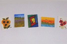 EF012 Galerieset bestehend aus 5 Bildern handgemalt 3x4cm