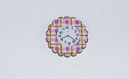EF039 Uhr lila/beige aus Holz mit Klebepunkt 2,5cm Durchmesser